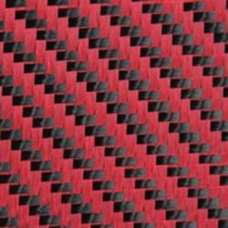 PROFABRIC - Dekoratif Karbon Fiber Kumaş Kırmızı/Siyah 210gr/m2 twill-